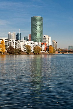 """Westhafen Tower, high-rise building in Frankfurt nicknamed """"Das Gerippte"""", resembling the structure of a typical cider glass, or """"Aeppelwoi-Turm"""", German for """"cider tower"""", Hessen, Germany, Europe"""