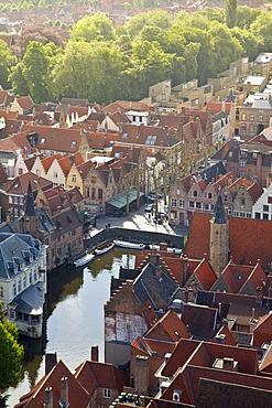 Aerial view, historic city centre of Bruges, Brugge, UNESCO World Heritage Site, Flanders, Belgium, Europe