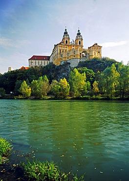 Melk Benedictine Abbey above the Danube, Wachau, Lower Austria, Europe