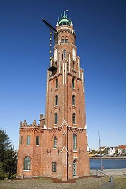 Simon Loschen Lighthouse, Neuer Hafen harbour, Havenwelten, Bremerhaven, Weser River, North Sea, Lower Saxony, Germany, Europe, PublicGround
