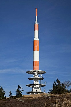 Antenna mast on the summit plateau, Brocken Mountain, Harz National Park, Saxony-Anhalt, Germany, Europe, PublicGround
