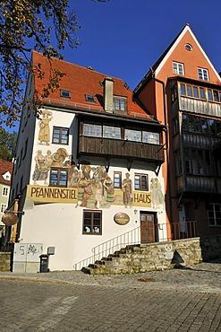 Historic Pfannenstiel House in the historic town of Landsberg am Lech, Upper Bavaria, Germany, Europe
