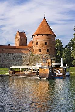 Ships off Trakai Island Castle, Trakai Historical National Park, Lithuania, Europe