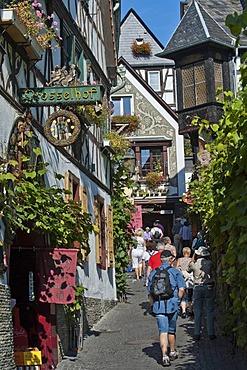 Drosselgasse street, Ruedesheim, Rheingau, Hesse, Germany, Europe