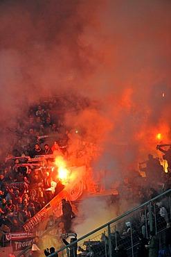 Pyrotechnics, fireworks, riots, fire, grandstand, Wirsol Rhein-Neckar Arena stadium, Sinsheim Hoffenheim, Baden-Wuerttemberg, Germany, Europe