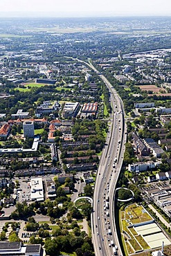 Aerial view, Bonn behind the highway bridge, Friedrich-Ebert Bridge, facing west, Rhineland, North Rhine-Westphalia, Germany, Europe