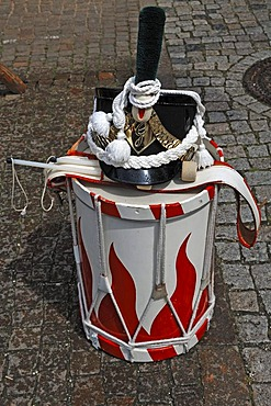Drum and helmet of Napoleonic troops, in 1808, at a historic celebration in Gengenbach, Baden-Wurttemberg, Germany, Europe