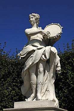 Female statue with a tambourine, Unteres Schloss Belvedere palace, character from the Graeco-Roman mythology, Rennweg street, Vienna, Austria, Europe