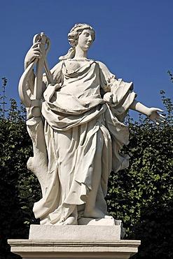 Female sculpture holding musical instrument, figure from Greek-Roman mythology, Lower Belvedere, 18th Century, Rennweg, Vienna, Austria, Europe
