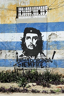 Mural painting of Che Guevara, city centre of Havana, Centro Habana, Cuba, Greater Antilles, Caribbean, Central America, America