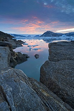 View of the continental ice sheet, Johan Petersen Fjord, East Greenland, Greenland