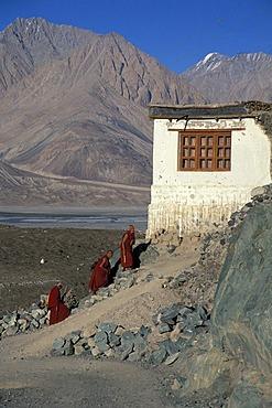 Monks, Diskit Monastery, Deskit Gompa, Hunder, Nubra Valley, Ladakh, Indian Himalayas, Jammu and Kashmir, northern India, India, Asia