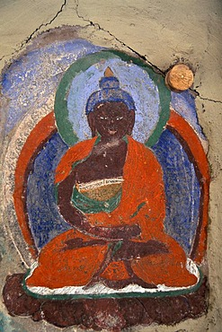 Image of a dark-skinned Buddha, fresco, Hemis Monastery, Ladakh, Indian Himalayas, Jammu and Kashmir, northern India, India, Asia