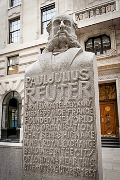 Memorial to Paul Julius Reuter, founder of the Reuters news agency, London, England, United Kingdom, Europe