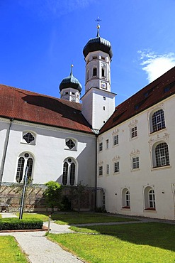 Cloister, Kloster Benediktbeuren monastery, former Benedictine abbey, Bad Toelz-Wolfratshausen district, Bavaria, Germany, Europe