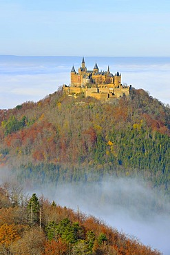 Burg Hohenzollern castle in autumn, Swabian Alp, Baden-Wuerttemberg, Germany, Europe