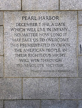 Inscription, excerpt of the Pearl Harbour Speech by Franklin D. Roosevelt, National World War II Memorial, WWII Memorial or Second World War Memorial, Washington DC, District of Columbia, United States of America, PublicGround