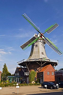 Siuts-Muehle Mill, built in 1885, Auricher Strasse street, now a restaurant, Wittmund, Eastern Friesland, Lower Saxony, Germany, Europe