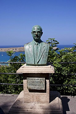 Statue of Ioannis Zigdis, Greek politician and minister, Lindos, Rhodes, Greece, Europe