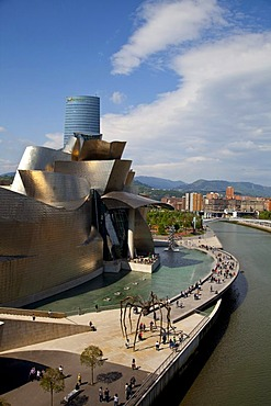 The Guggenheim Museum of Contemporary Art of Bilbao, nicknamed The Hole, contemporary museum built of titanium, limestone and glass, designed by Frank O. Gehry in 1997, Basque region, Spain, Europe