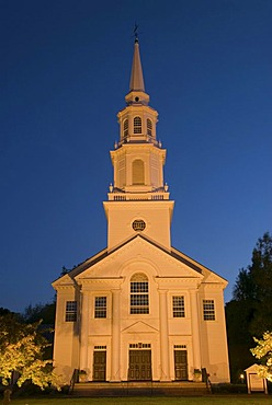The floodlit Trinitarian Congregational Church at the blue hour, Concord, Massachusetts, USA