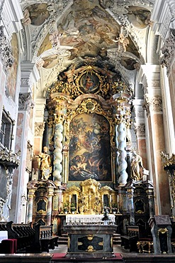 Choir and altar area, Monastery Church of St. Michael, Metten, Bavaria, Germany, Europe