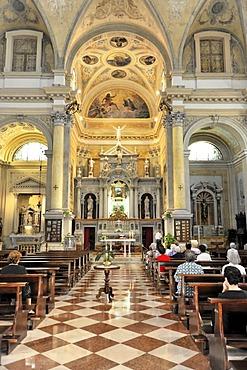Interior view, nave and altar area, Basilica di San Giacomo, built in 1742, Chioggia, Venice, Veneto, Italy, Europe