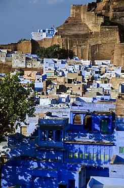 Blue City of Jodhpur with Meherangarh Fort, Rajasthan, India, Asia