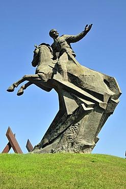 Equestrian revolution monument to Antonio Maceo Grajales, most important military leader of the Cuban guerrilla war against the Spanish colonial powers, Plaza de la Revolucion, Santiago de Cuba, Cuba, Caribbean