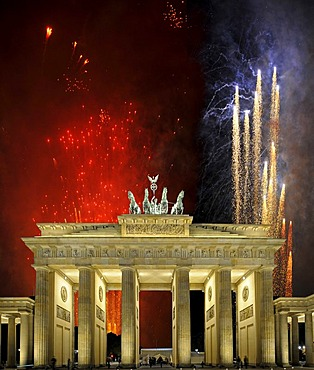 Fireworks behind Brandenburg Gate, Berlin, Germany, Europe, composing, PublicGround
