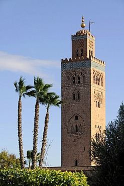 Minaret of the Koutoubia Mosque or Kutubiyya Mosque, Marrakech, Morocco, Maghreb, North Africa, Africa