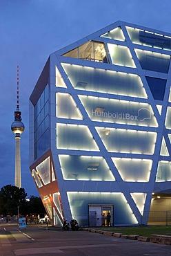 Humboldt Box, Berlin's most innovative exhibition space about the Humboldt Forum and the construction of the City Palace, Schlossplatz 5, Schlossbruecke, Castle Bridge, Unter den Linden, Am Lustgarten, TV Tower, Berlin Mitte, Berlin, Germany, Europe