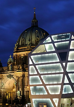 Humboldt Box, Berlin's most innovative exhibition space about the Humboldt Forum and the construction of the City Palace, in front of Berlin Cathedral, Schlossplatz 5, Schlossbruecke, Castle Bridge, Unter den Linden, Am Lustgarten, TV Tower, Berlin Mitte,