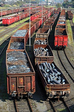 Iron and steel scrap being delivered by rail to the steelworks of HKM Huettenwerke Krupp Mannesmann, Duisburg, North Rhine-Westphalia, Germany, Europe, PublicGround