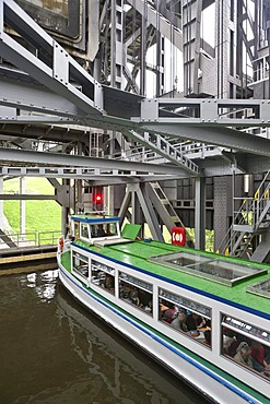 Steel construction with a boat, Niederfinow boat lift, Brandenburg, Germany, Europe