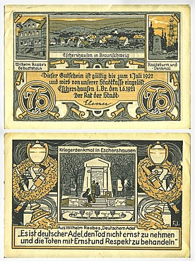 Voucher from the city treasurer's office Stadtkasse Braunschweig to the value of 75 Pfennig, front and rear, circa 1921