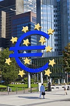 European Central Bank, ECB, euro sign, Frankfurt am Main, Hesse, Germany, Europe, PublicGround