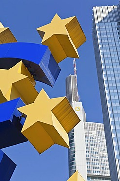 European Central Bank, ECB, with euro sign, Frankfurt am Main, Hesse, Germany, Europe, PublicGround