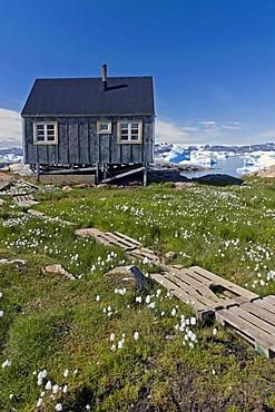 Inuit house, Inuit settlement of Tiniteqilaaq, Sermilik Fjord, East Greenland, Greenland