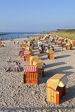 Roofed wicker beach chairs at the beach, Wustrow, Darss, Mecklenburg-West Pomerania, Germany, Europe, PublicGround