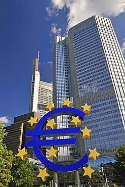 Euro sign, currency symbol, European Central Bank, ECB, Frankfurt am Main, Hesse, Germany, Europe, PublicGround