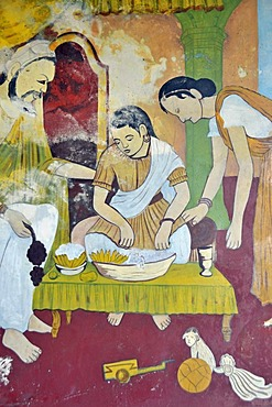 Buddhist wall paintings for religious instruction, Wewurukannala Vihara Temple, Dikwella, Sri Lanka, Asia, PublicGround