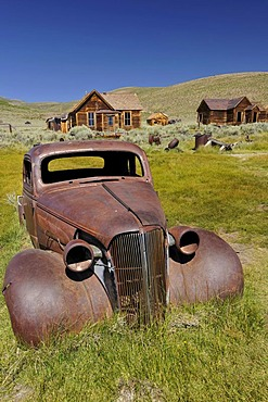 1937 Chevrolet Chevy, rusted, ghost town of Bodie, a former gold mining town, Bodie State Historic Park, California, United States of America, USA