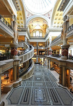 Interior, The Forum with a unique spiral staircase, luxury hotel, casino, Caesars Palace, Las Vegas, Nevada, United States of America, USA, PublicGround
