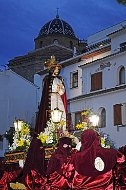 Christ figure, masked carriers in red hoods, Easter procession, Altea, Alicante, Spain, Europe