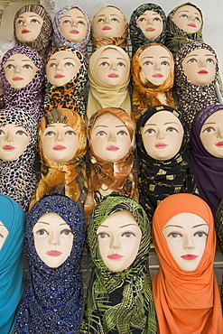 Mannequins displaying traditional Hijab headscarfs, Hebron, West Bank, Palestine, Western Asia