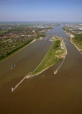 Aerial view, entrance to Kiel Canal, Dithmarschen, Schleswig-Holstein, Germany, Europe