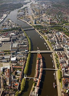 Aerial view, Weserburg museum for modern art, Kleine Weser river, Bremen, Germany, Europe