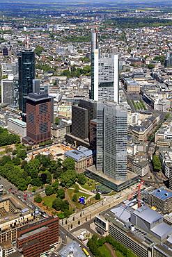 Aerial view, European Central Bank, ECB, Eurotower, Deutsche Bank, Europabank, Frankfurt am Main, Hesse, Germany, Europe