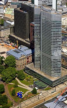 Aerial view, European Central Bank, ECB, Eurotower, euro sign, Deutsche Bank, Europabank, Frankfurt am Main, Hesse, Germany, Europe